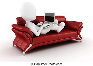 3, man med laptopen, sittande, på, a, röd, soffa