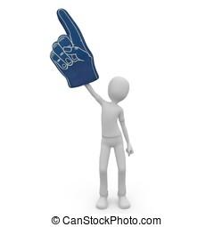 3, man, med, skum, finger