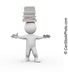 3, man, med, stapla av böcker, på, huvud
