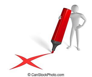 3, man, med, stor, märkpenna teckna, x, underteckna