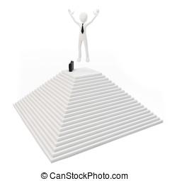 3, man, på topp om, den, pyramid