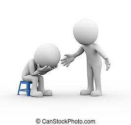 3, man, stödjande, sympati, för, trist