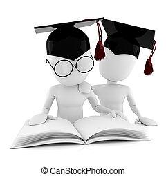 3, man, studera, isolerat, vita