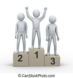 3, man, vinnare, på, podium