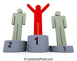 3, man, vinnare