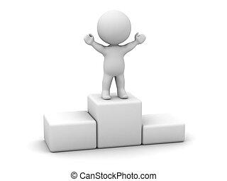 3, mananseende, på topp om, podium
