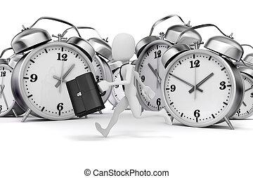 3, mand, forretningsmand, og, alarm ur