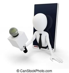 3, mand, online, interview, begreb