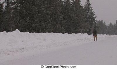 #3, marcheur, 3, neige, route
