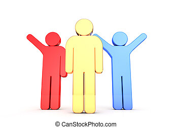 3 Men waving 3D