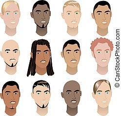 3, mens, gezichten