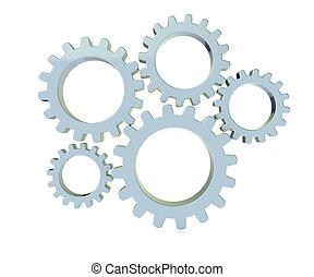 3, metal, det gears, ind, hvid baggrund