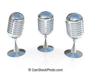 3 metal microphones