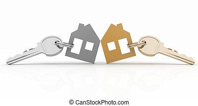 3, model, hus, symbol, sæt, hos, nøgle