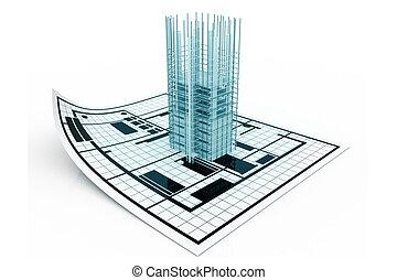 3, modern épület, és, terv, tervrajz