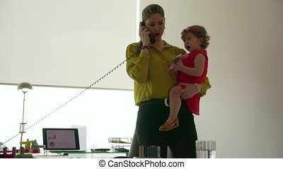 3 Mom And Daughter Business Woman Answering Phone Call