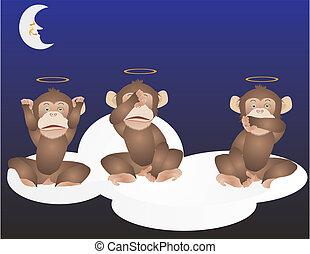 3 Monkeys, See, hear and speak no e