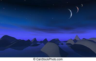 3 moons over alien landscape