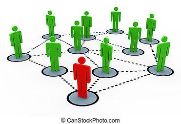3, nätverk, social