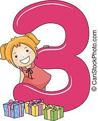 3, número, criança