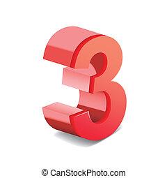 3, número, rojo, brillante, 3d