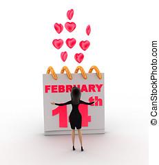 3, nő, noha, 14 february, kedves, day's, és, rózsaszínű,...