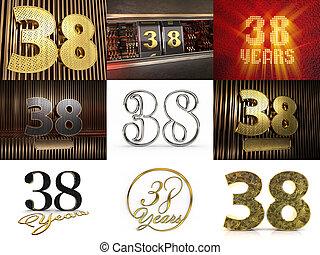 3, nittio, stars., sätta, dekorerat, cirkel, illustration, gyllene, tio, siffra