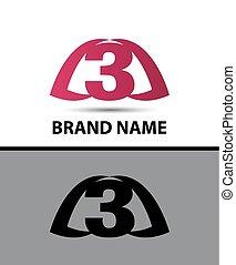 3, nombre, logo, vecteur, design.
