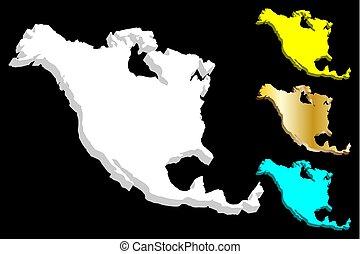3, nordamerika karta, kontinent