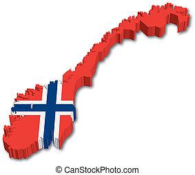 3, norge, karta, med, flagga