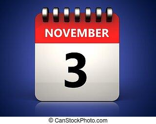 3, novembre, calendario, 3d