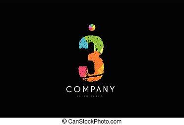 3 number grunge color rainbow numeral digit logo