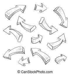 3, nyíl, sketchy, tervezés elem, állhatatos, vektor, ábra