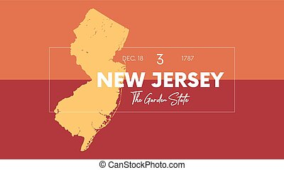 3 of 50 states of the United States with a name, nickname, and date admitted to the Union, Detailed Vector New Jersey Map for printing posters, postcards and t-shirts
