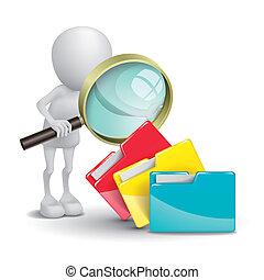 3, osoba, s, skládačka, a, jeden, magnifying glass