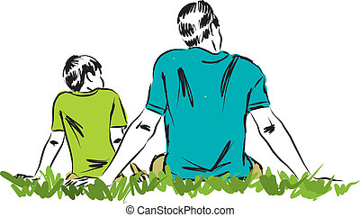 3, père, illustration, fils