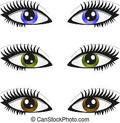 3 pair of eyes