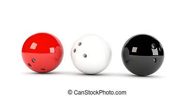 3, palle, bowling
