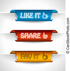 3 paper stickers tag for sharing options