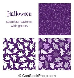 3 patterns with ghosts - Set of vector seamless patterns...