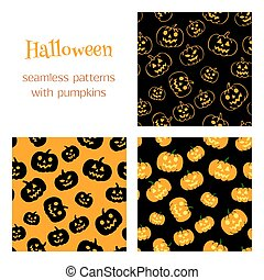 3 patterns with pumpkins
