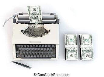 3, pengar, skrivmaskin, med, 100, dollar, stack, uppe i luften, perspektiv