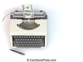 3, pengar, typ, författare, uppe i luften, perspektiv