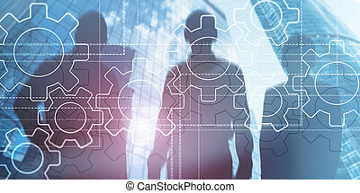 3 People Silhouettes. Teamwork Team Cooperation Concept. Business picture Gears.