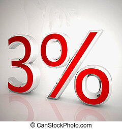 3 per cent over white reflecting background, 3d rendering