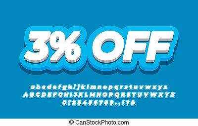 3 percent sale discount promotion text 3d blue template