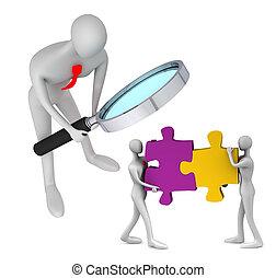 3, person, iagttag, den, held, i, teamwork
