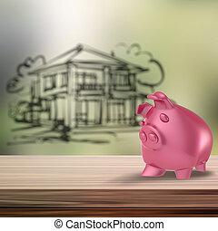 3, piggy bank, på, af træ, hylde, hos, hjem, sløre, baggrund, idet, conce