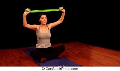 3, pilates, jeune femme