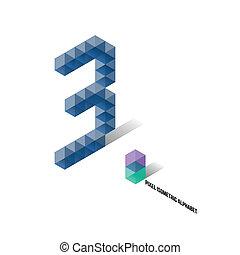 3 - Pixel Isometric Alphabet - Numbers